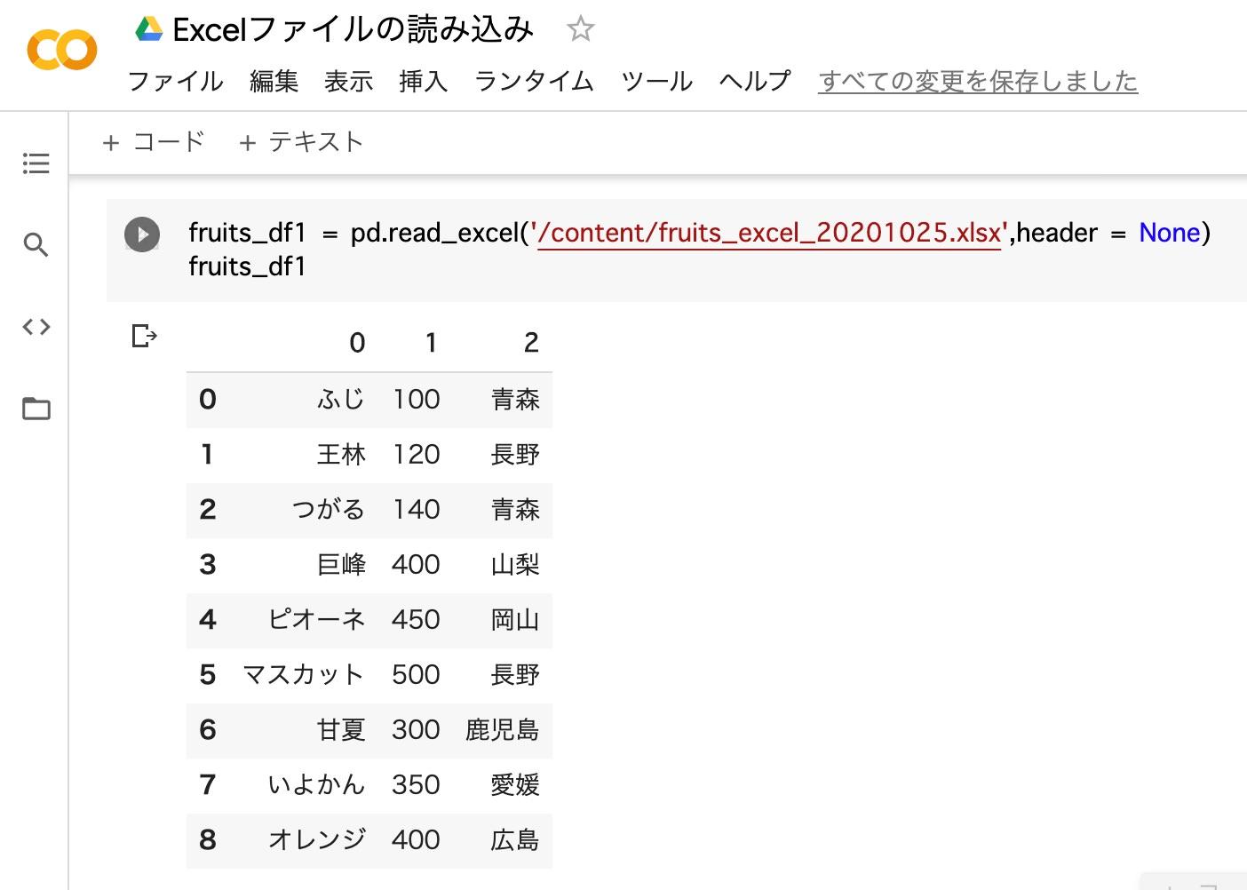 pandas_Excelファイルの読み込み