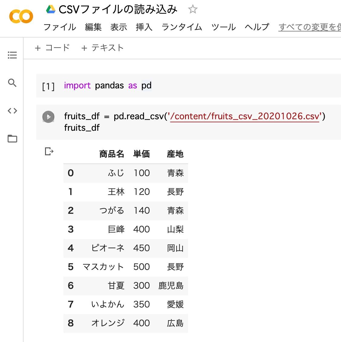 pandas_CSVファイルの読み込み