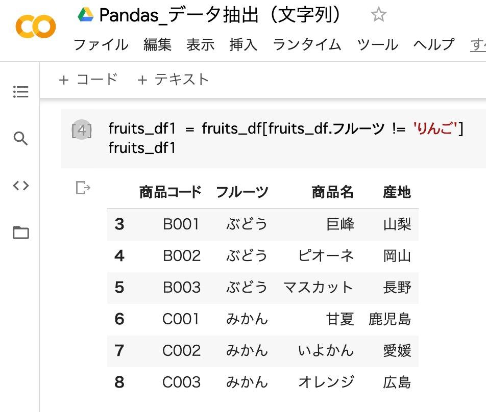 pandas_データ抽出(文字列)